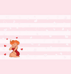 valentines card with cute sexy girl vector image