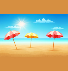beach with umbrellas vector image