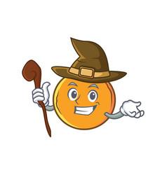 Witch orange fruit cartoon character vector