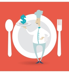 chef holding a tray icon dollar vector image