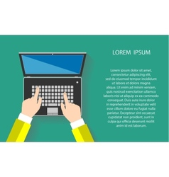 Closeup of woman hands touching notebook or laptop vector
