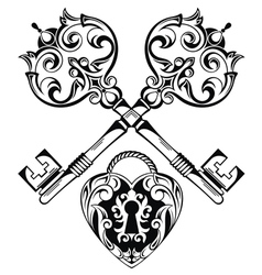 Tattoo design of lock ands key vector