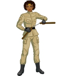 African american nunchuck girl in military uniform vector