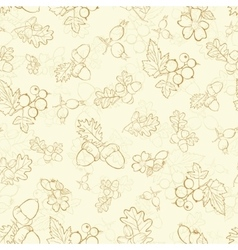 Vintage beige berries nuts drawing seamless vector