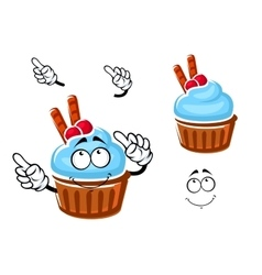 Cupcake with cream cranberries and waffle vector