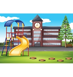 School campus with playground vector