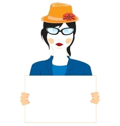 Girl with poster vector