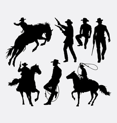 Cowboy activity silhouette vector