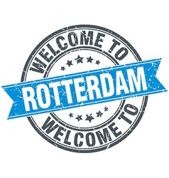 Welcome to rotterdam blue round vintage stamp vector