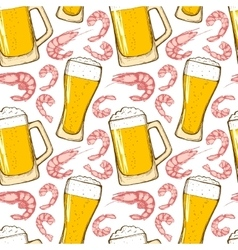 Beer and shrimps seamless pattern vector