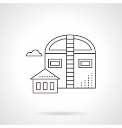 Industrial barns flat line icon vector