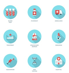 Set of flat design medicine icons with long shadow vector