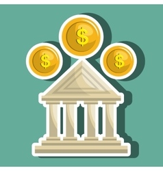 Bank building isolated icon design vector