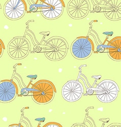 Seamless pattern with vintage bicycles vector
