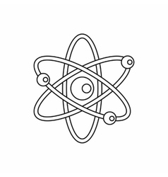 Atom with electrons icon in outline style vector