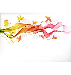 Abstract colorful background with wave and birds vector image vector image