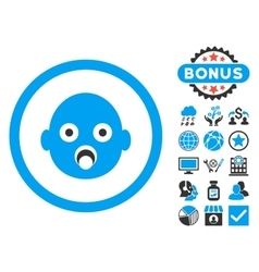 Baby Head Flat Icon with Bonus vector image vector image