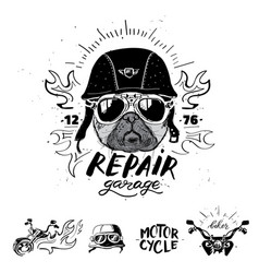 Biker pug dog set of vintage motorcycle emblems vector