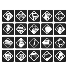 Black Office tools icons vector image vector image