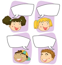 Boys and girls with speech bubble templates vector image vector image