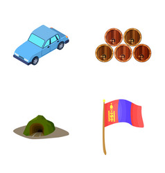 Car wooden barrels and other web icon in cartoon vector
