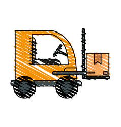 color crayon stripe cartoon forklift truck with vector image