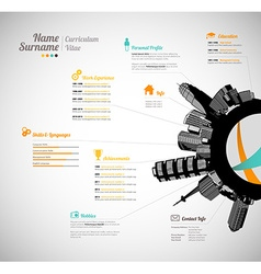 Creative curriculum vitae template with black vector