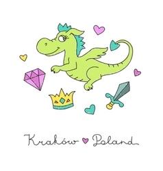 Cute cartoon dragon vector