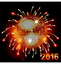 Disco ball over fireworks 2016 vector image vector image