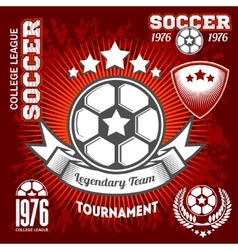 Emblems on the theme of soccer football icons and vector image
