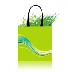 green grass in bag ecology vector image vector image