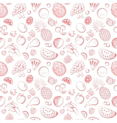 Hand drawn vintage fruit seamless vector image