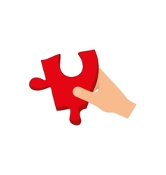 hand with puzzle piece vector image vector image