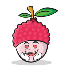In love lychee cartoon character style vector