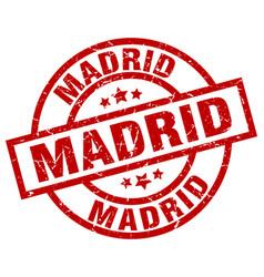 Madrid red round grunge stamp vector