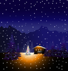 Merry Christmas and Winter landscape vector image