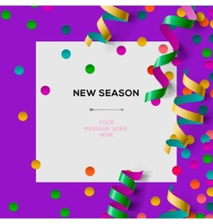 New season invitation template with party confetti vector