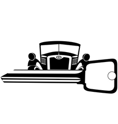 Old car and key vector image