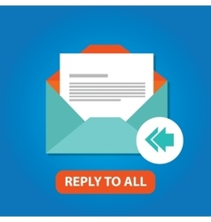 Reply to all email icon flat arrow back vector