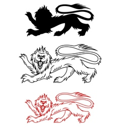 Royal lion and his silhouette for heraldry vector