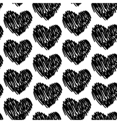 seamless pattern with hearts black and white vector image vector image