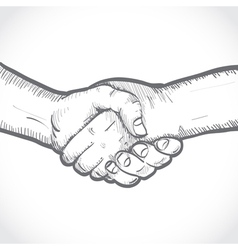 Sketch of two shaking hands vector