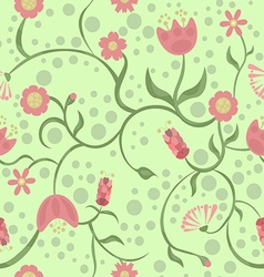 Spring and different pink flowers on a green backg vector