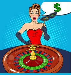 Surprised woman behind roulette table vector
