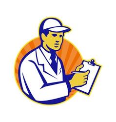 Technician Inspector Worker Clipboard Retro vector image