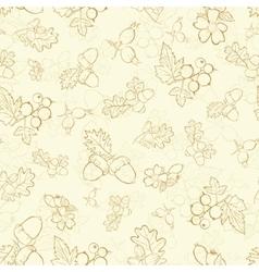 Vintage beige berries nuts drawing seamless vector
