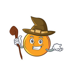 Witch orange fruit cartoon character vector