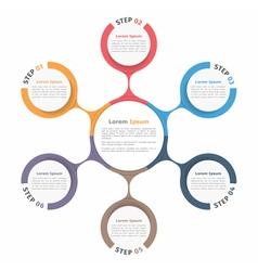 Circle diagram six elements vector