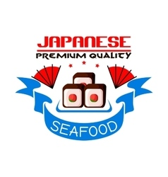 Japanese premium quality seafood restaurant icon vector