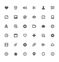 36 Simple icons with media file features vector image